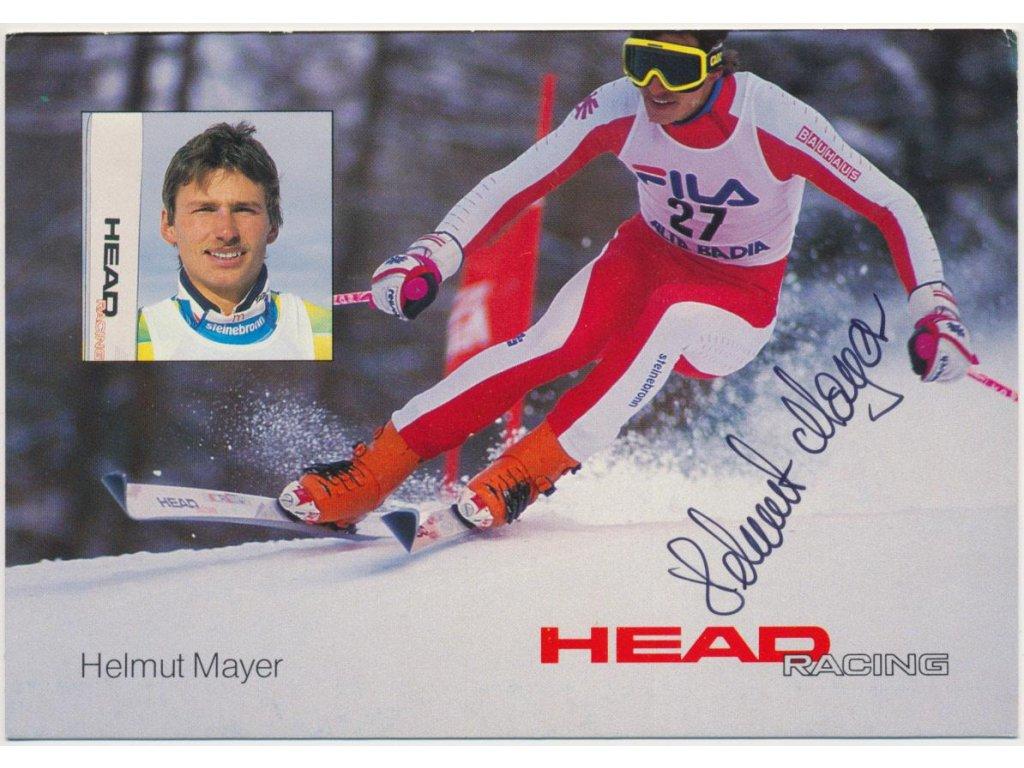 Mayer Helmut, alpské lyžování, olympionik,sběratelská karta s podpisem
