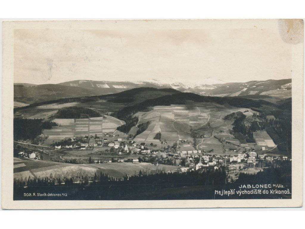 58 - Semilsko, Jablonec nad Jizerou, pohled na město, Foto Fon, 1930