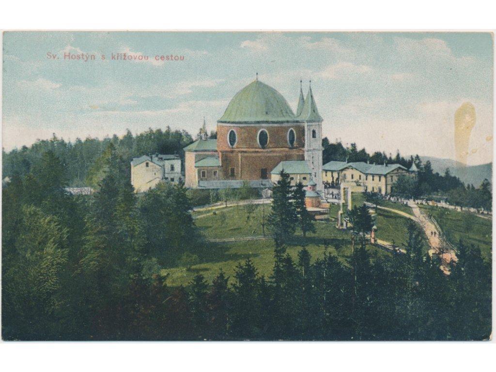 30 - Kroměřížsko, Hostýn s křížovou cestou, pohled na poutní místo,1908