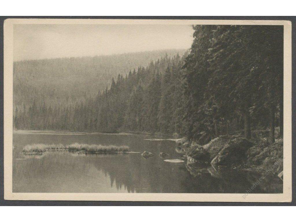 28 - Šumava (Böhmerwald), Klatovsko, jezero Laka (Lakkasee), nakl. Seidel č. 527, cca 1925