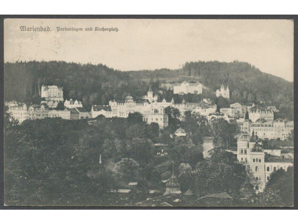 08 - Chebsko, Mariánské lázně (Marienbad), Kostelní náměstí (Kirchenplatz) a park, cca 1925
