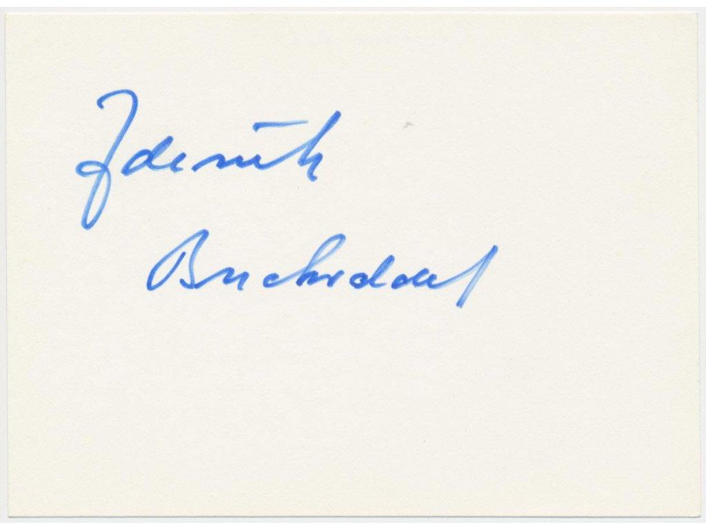 Buchvaldek Zdeněk (1928 -1987), herec, karta s vlastnoručním podpisem