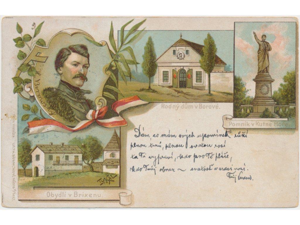 K. H. Borovský, 4 - záběrová litografie, portrét, pomník,...., cca 1900