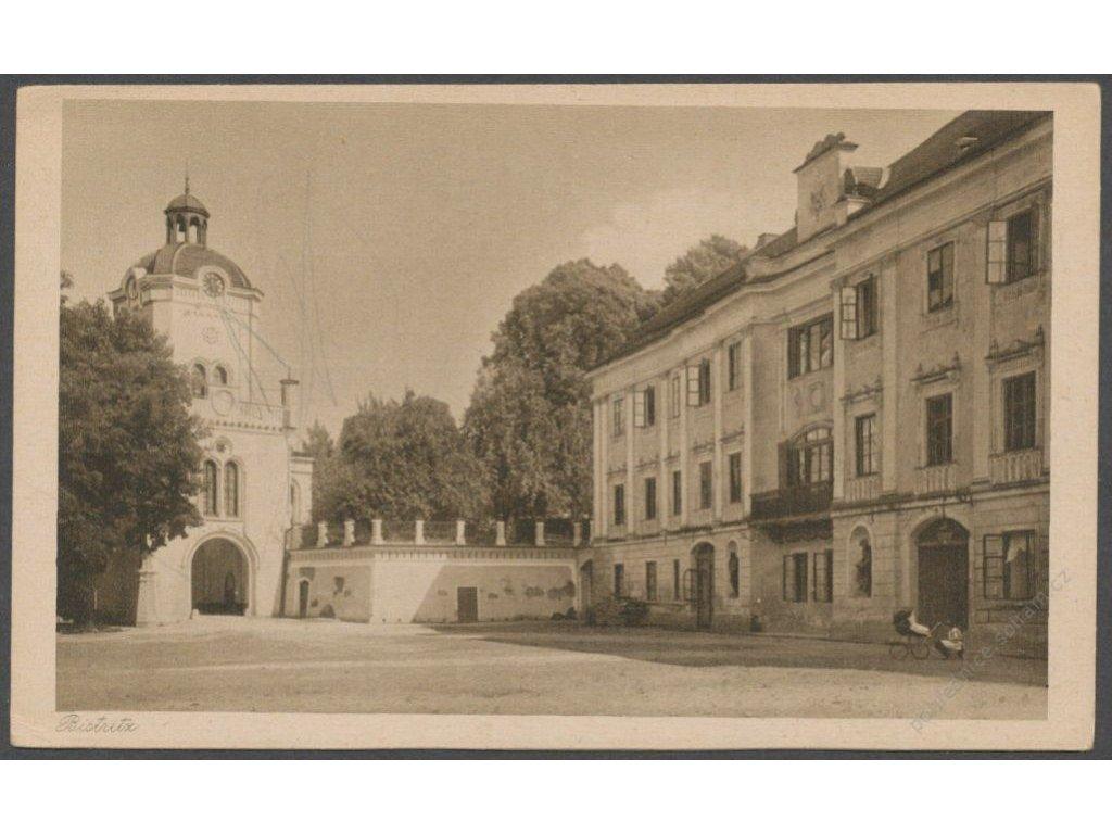 22 - Jičínsko, Bystřice (Bistritz), náměstí, nakl. Wendelberger, foto Seidel, cca 1925