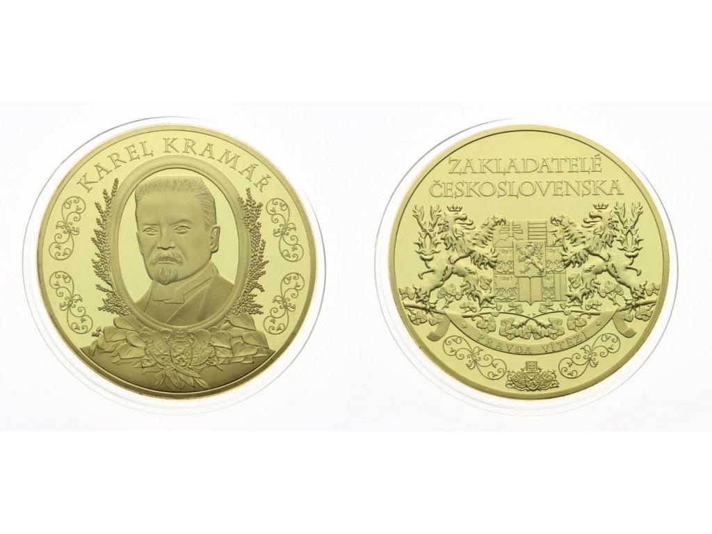 ČR, AE medaile Karel Kramář, zlaceno, certifikát, kapsle, masivní kus