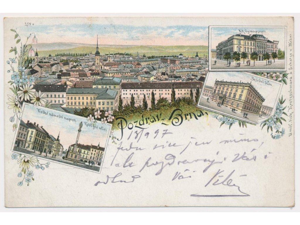 04 - Brno, 4 - záběrová litografie, náměstí, gymnázium..., cca 1897