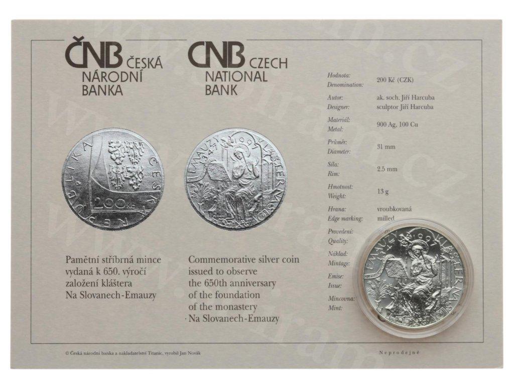 ČR, 200 Kč, Klášter Emauzy, 1997, Ag 0,900, váha 13 gramů, kapsle