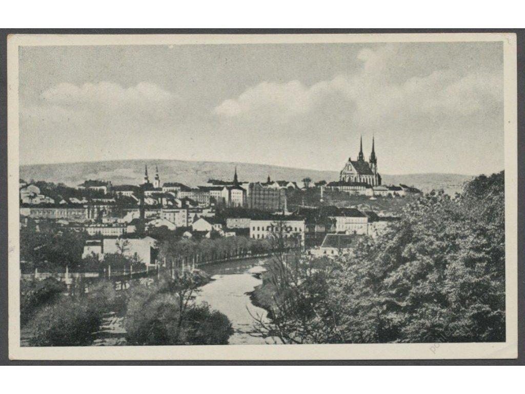 04 - Brno-město (Brünn), partie od Svratky s dómem sv. Petra (St. Petersdom), cca 1940