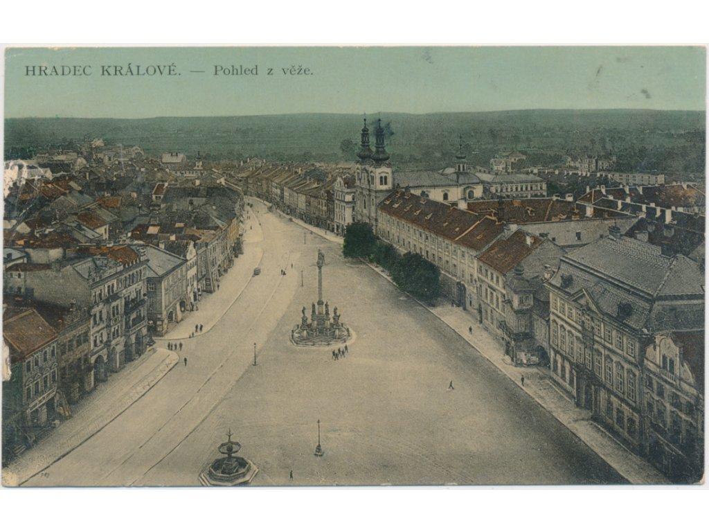 19 - Hradec Králové, pohled na náměstí a celkový pohled na město, 1912