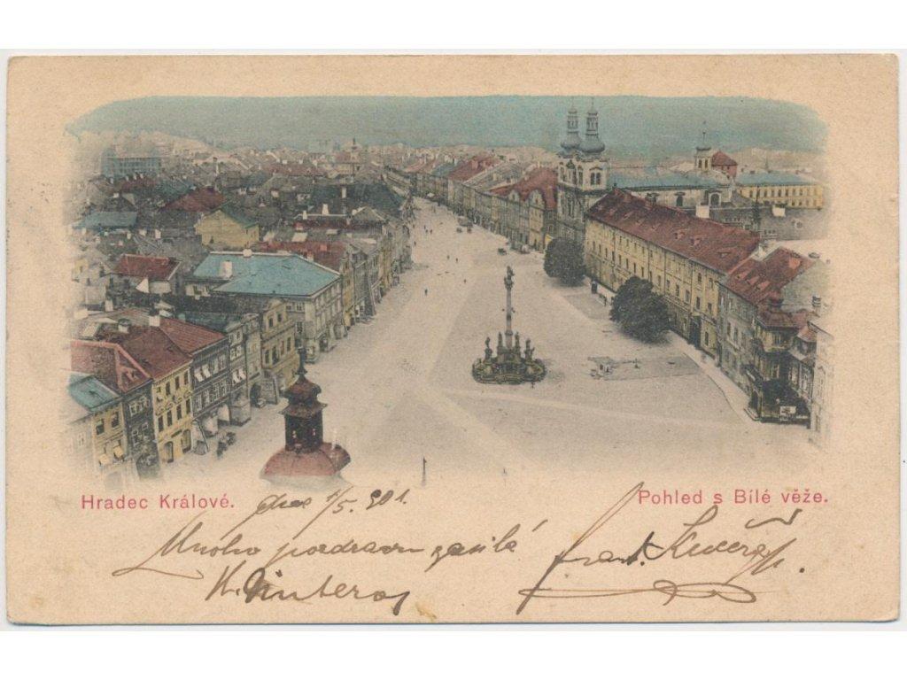 19 - Hradec Králové, pohled na náměstí a město z Bílé věže, cca 1901