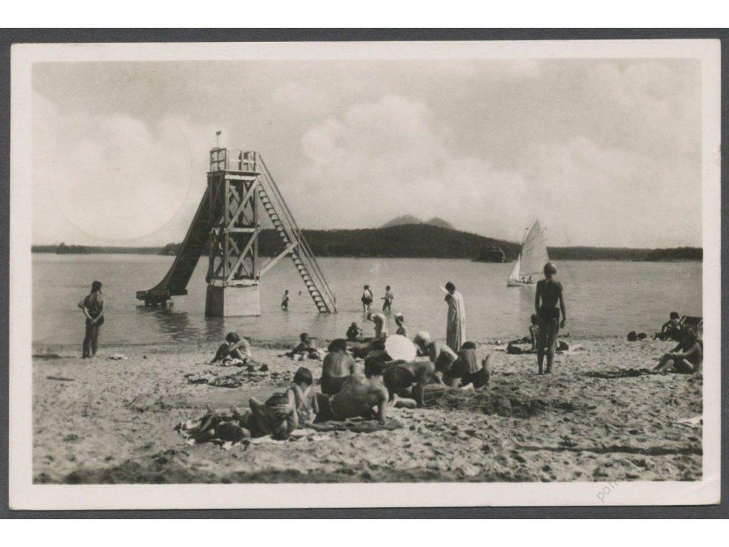 11 - Českolipsko, lázně Doksy (Bad Hirschberg), Staré splavy, pláž, nakl. Girrer, cca 1940