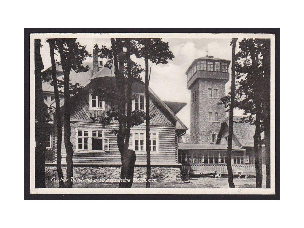 15 - Domažlicko, Čerchov, turistická chata a rozhledna, nakl. Rybařík, cca 1930