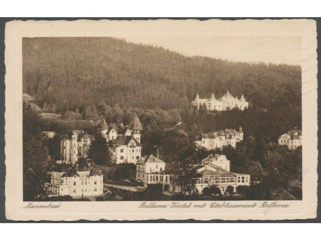 08 - Chebsko, Mariánské lázně (Marienbad), panorama Bellevue-Viertel, nakl. Fritz, cca 1934