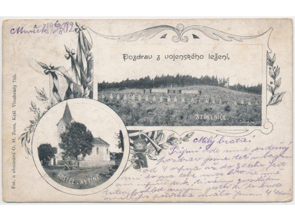 51 - Praha - západ, Kytín, 2 - záběr, kostel a střelnice, cca 1902