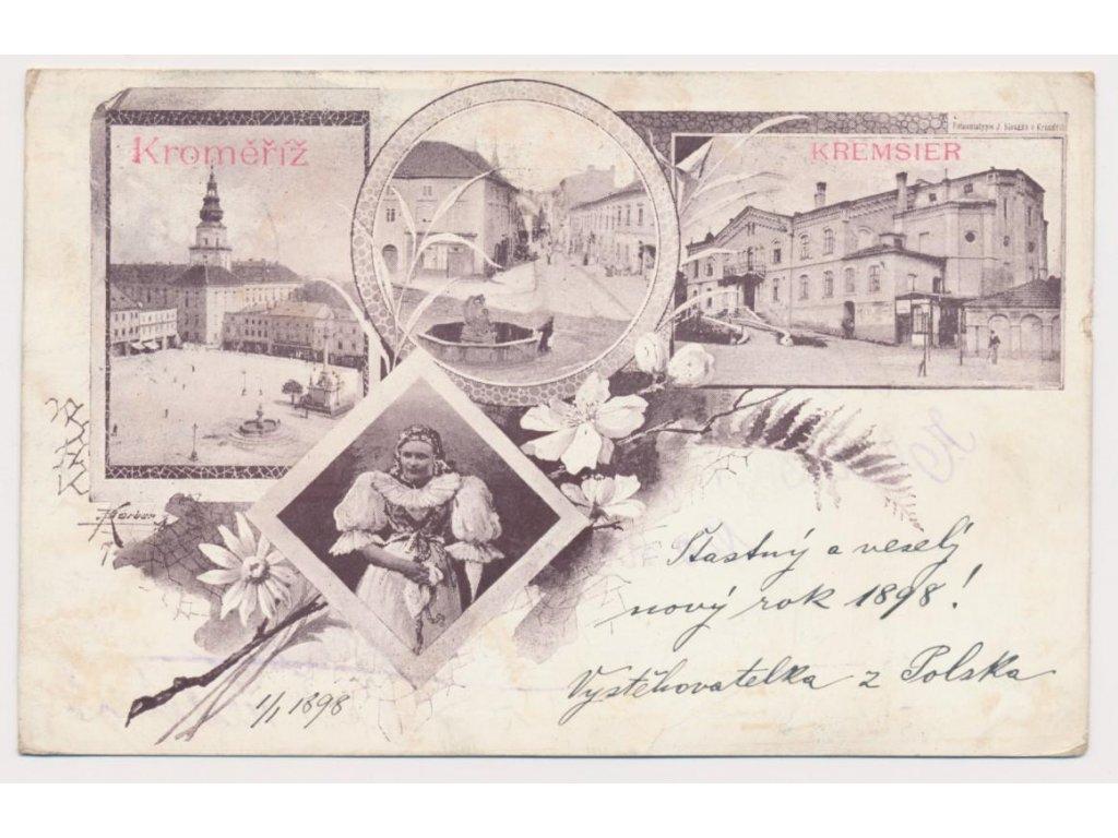 30 - Kroměříž, 4 - záběrová koláž dominant města, cca 1898 !!!