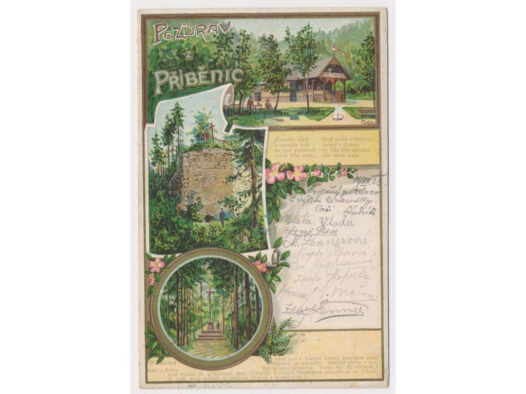 64 - Táborsko, Příběnice, 3 - záběrová koláž z okolí hradu, cca 1903