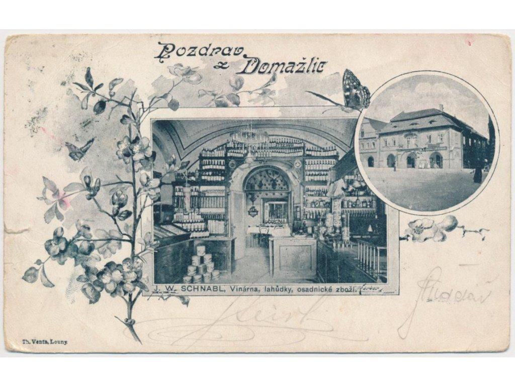 15 - Domažlice, 2-záběrová koláž, vinárna, lahůdky J. W. Schnabl, 1903