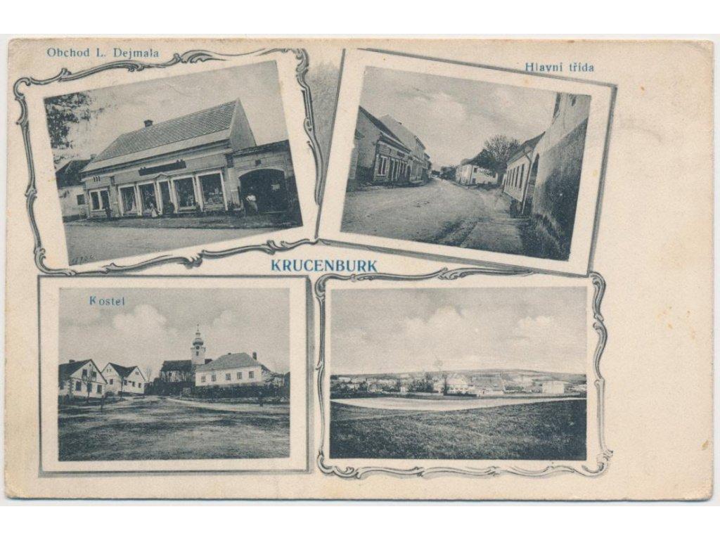 17 - Havlíčkobrodsko, Krucemburk, 4 - záběr, obchod J. Dejmala.., 1917