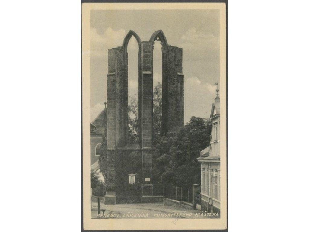 01 - Benešov, zřícenina Minoritského kláštera, nakl. A. K. V., cca 1925