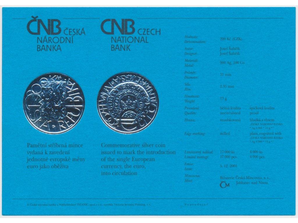 ČR, certifikát k Ag minci 200,-Kč, 2001, Zavedení eura jako oběživa