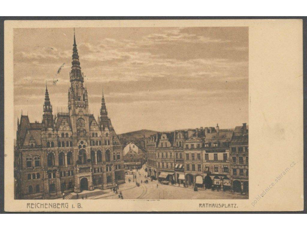 32 - Liberec (Reichenberg), radnice s náměstím (rathausplatz), cca 1930