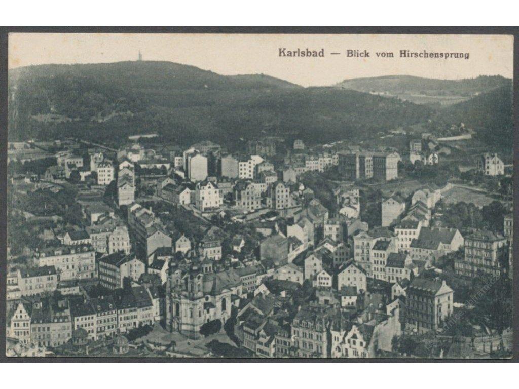 25 - Karlovy Vary (Karlsbad), pohled z Jelenního skoku, nakl. Fritz, cca 1920