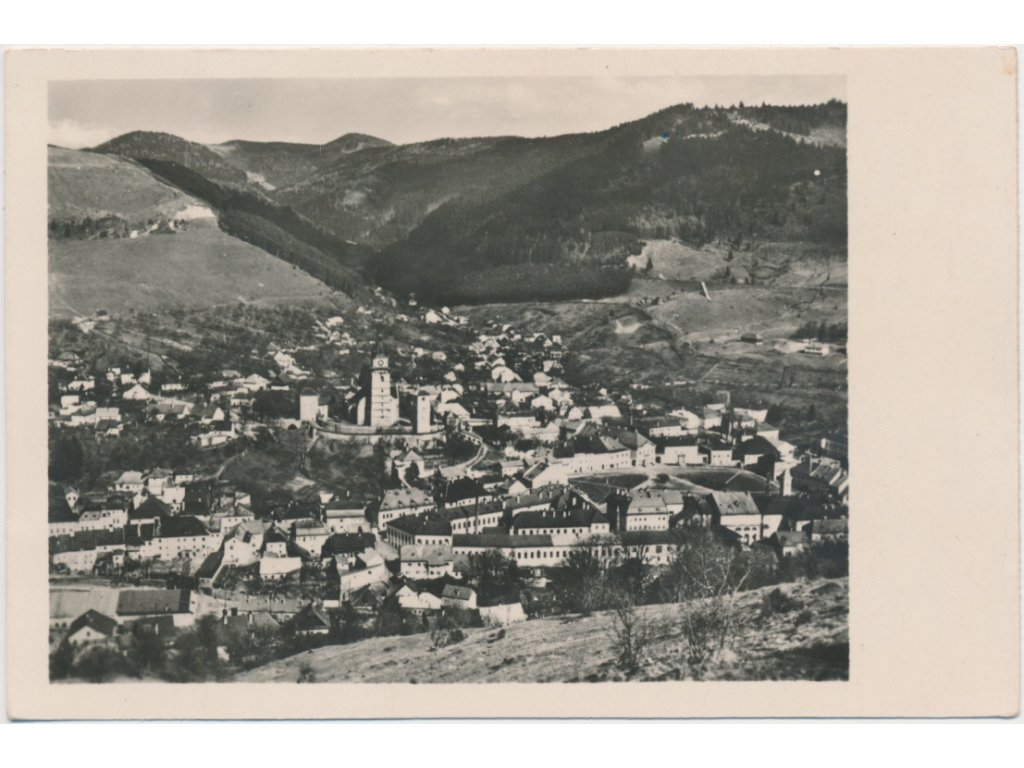 Slovensko, Kremnica, celkový pohled na město, cca 1935