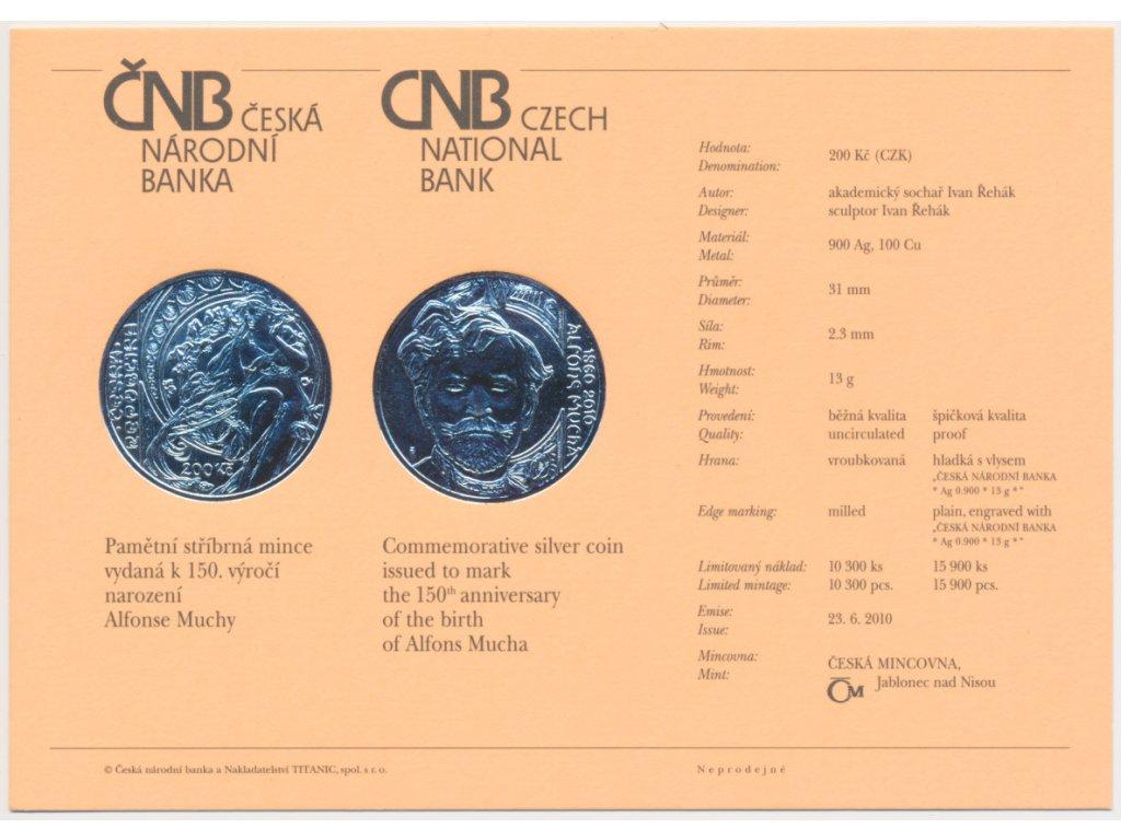 ČR, certifikát k Ag minci 200,-Kč, 2010, Alfons Mucha