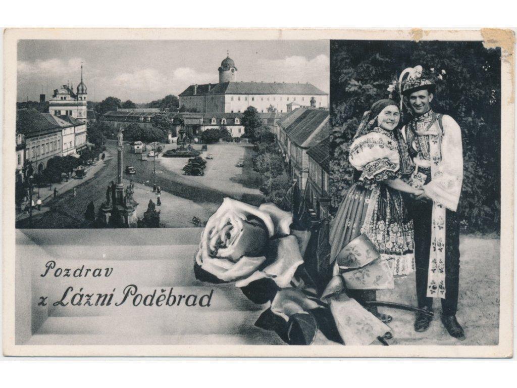 40 - Nymbursko, Poděbrady, kolážová pohlednice lázeňského města