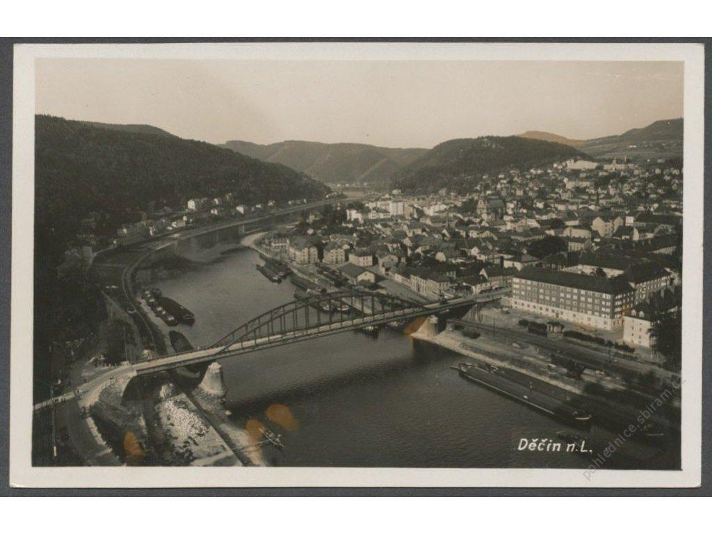 14 - Děčín, most a řeka Labe, cca 1935