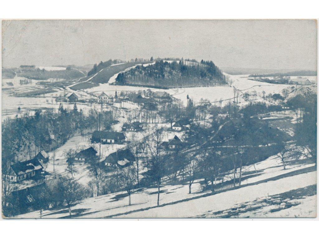 70 - Orlickoústecko, Kunvald, pohled na zasněžené město, cca 1920