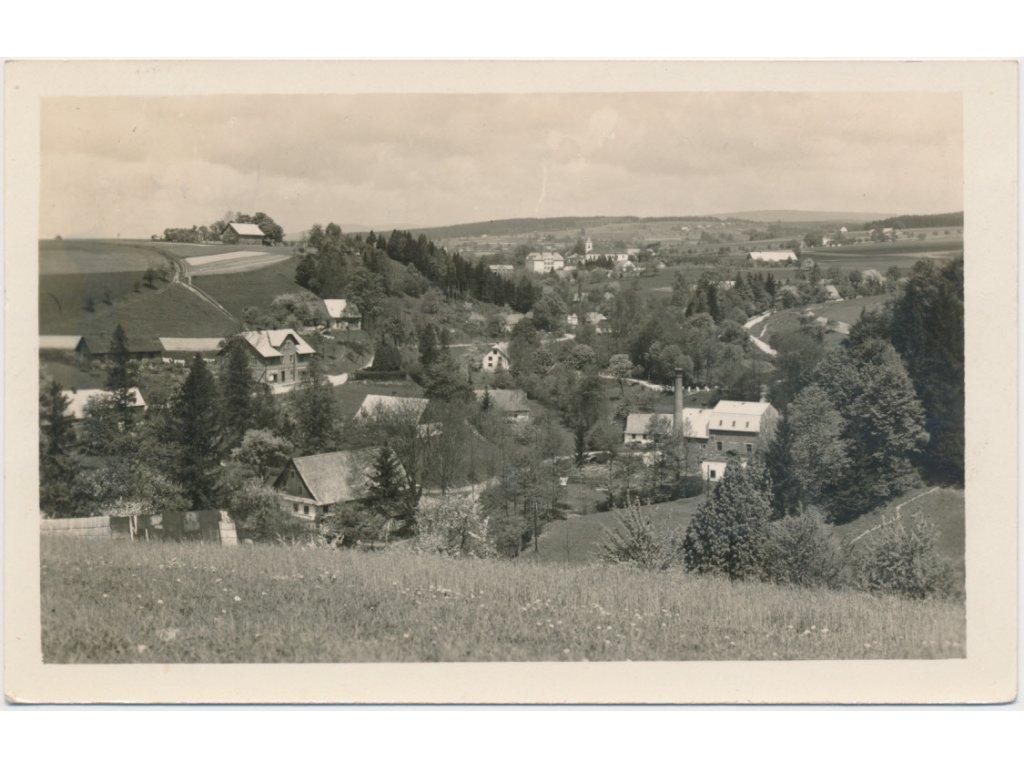 70 - Orlickoústecko, Kunvald, celkový pohled na městys, cca 1945