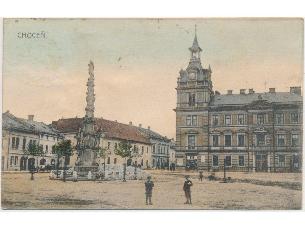 70 - Orlickoústecko, Choceň, oživené náměstí, cca 1911