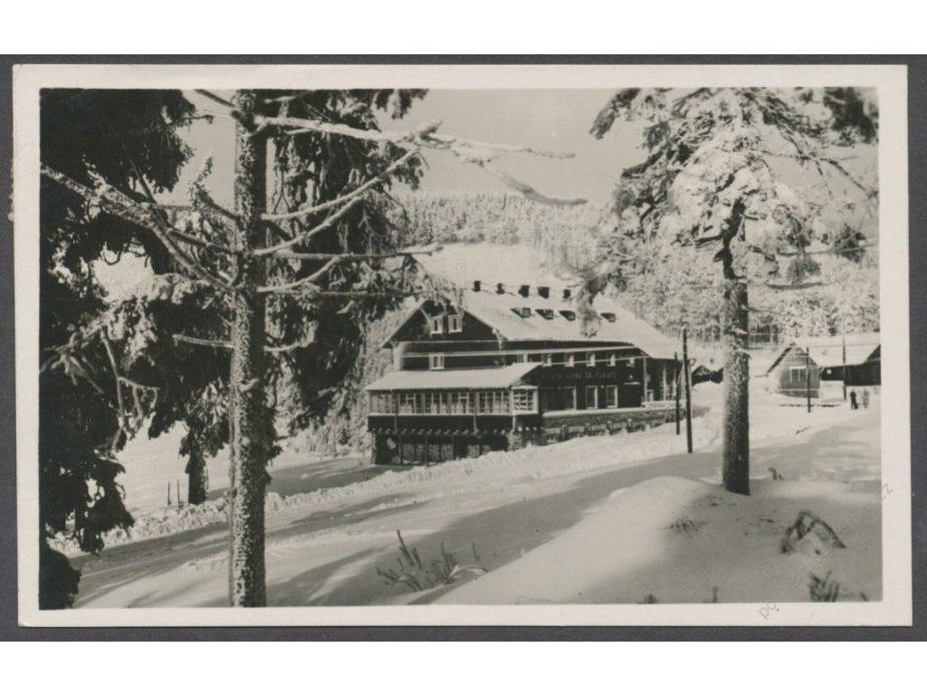 62 - Šumpersko, Jeseníky, chata KČT na Červenohorském sedle, nakl. KČT, grafo Čuda, cca 1935