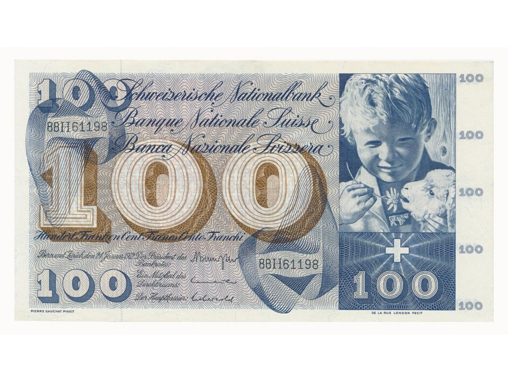 Švýcarsko, 100 Franků, 1972, pěkný stav 1