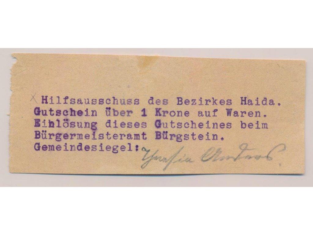 ČSR, Sloup, 1 Koruna, 1914, Nouzová bankovka okresu Nový Bor, stav UNC