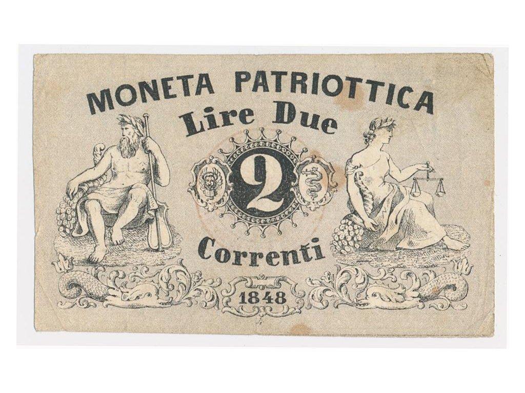 Benátky, 2 Lire, 1848, pěkný stav 2, hledané
