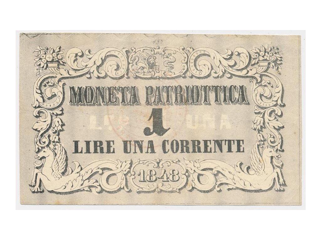 Benátky, 1 Lire, 1848, pěkný stav 2, hledané