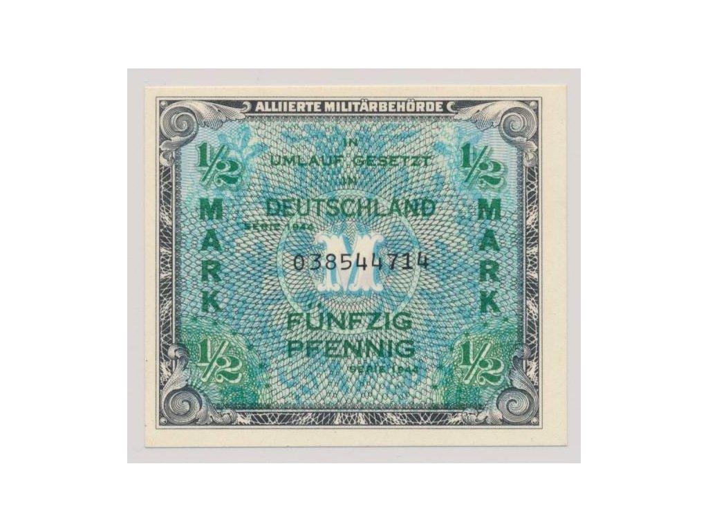 Německo, 1/2 Marka, 1944, Allierte, USA vydání - 9-ti místná s F, UNC