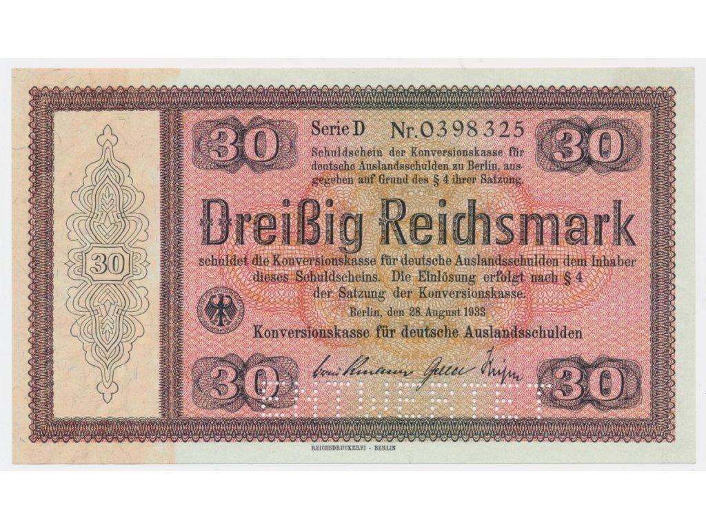 Německo, 30 RM, 1933, Konversionskassenschein, perforace 702E1,stav 0+