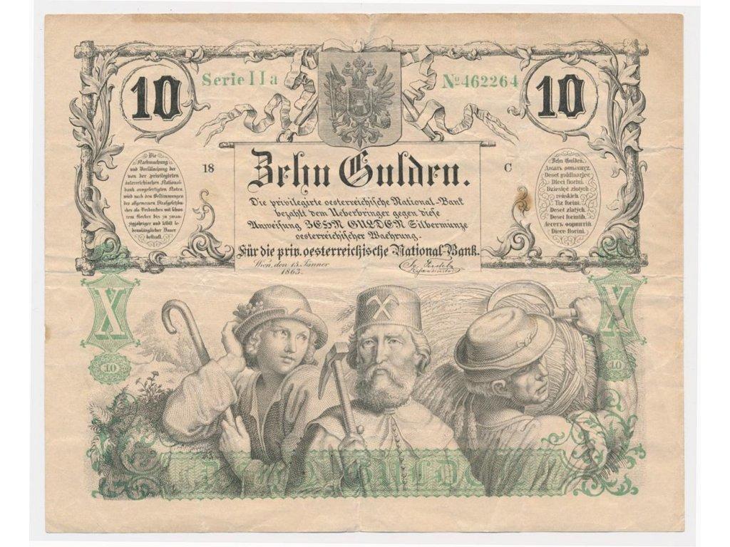 Rakousko-Uhersko, 10 Gulden, 1863, motiv studenta, horníka a zemědělce
