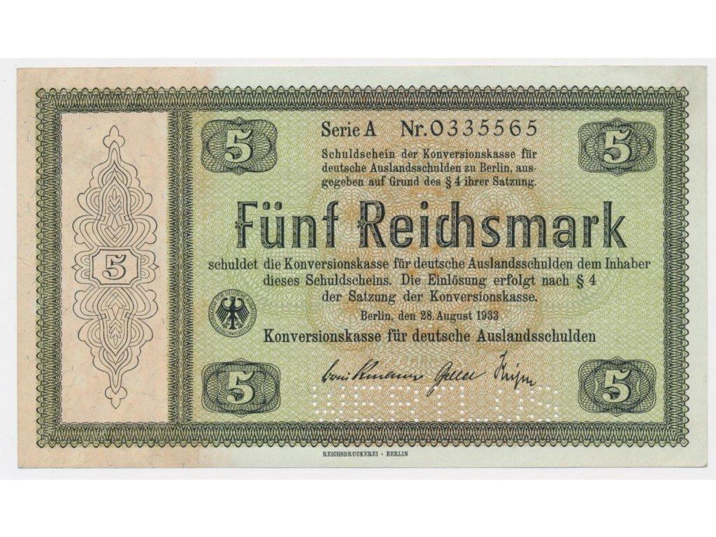 Německo, 5 RM, 1933, Konversionskassenschein, perforace 700E2,stav 0