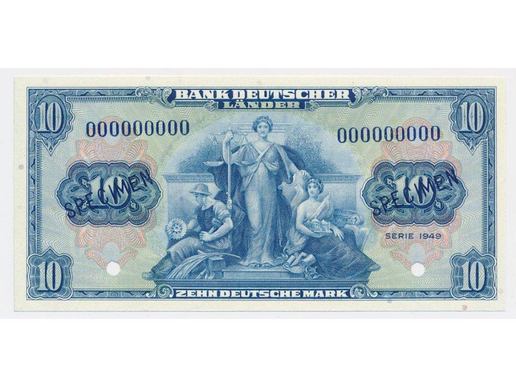 Německo, 10 DM, 1949, anulát s přetiskem SPECIMEN, stav UNC, vzácné