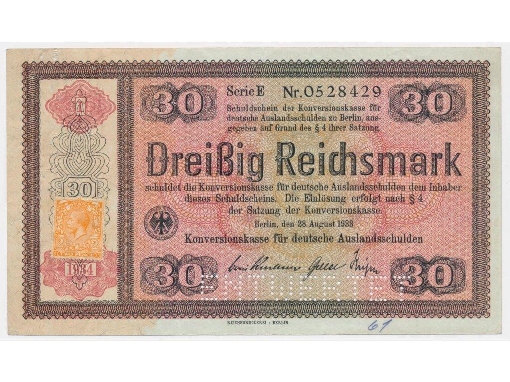 Německo, 30 RM, 1933, Konversionskassenschein,perforace 710E1,stav 2-
