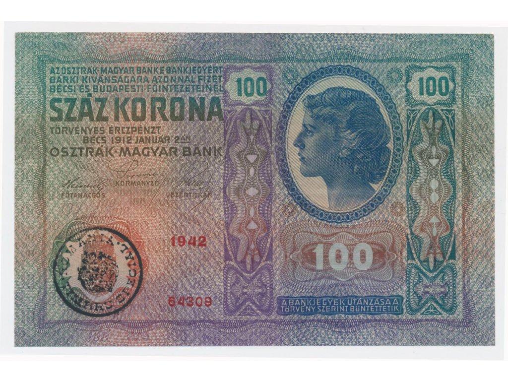 ČSR, 100 K, 1912/1919, Rumunský přetisk, skutečně krásný stav 2
