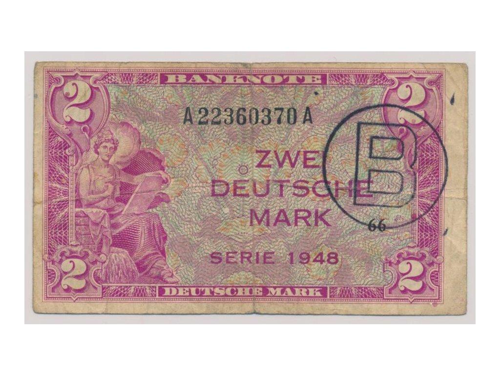 Německo, 2 DM, vydání pro západní Berlín, 1948, oběhový stav