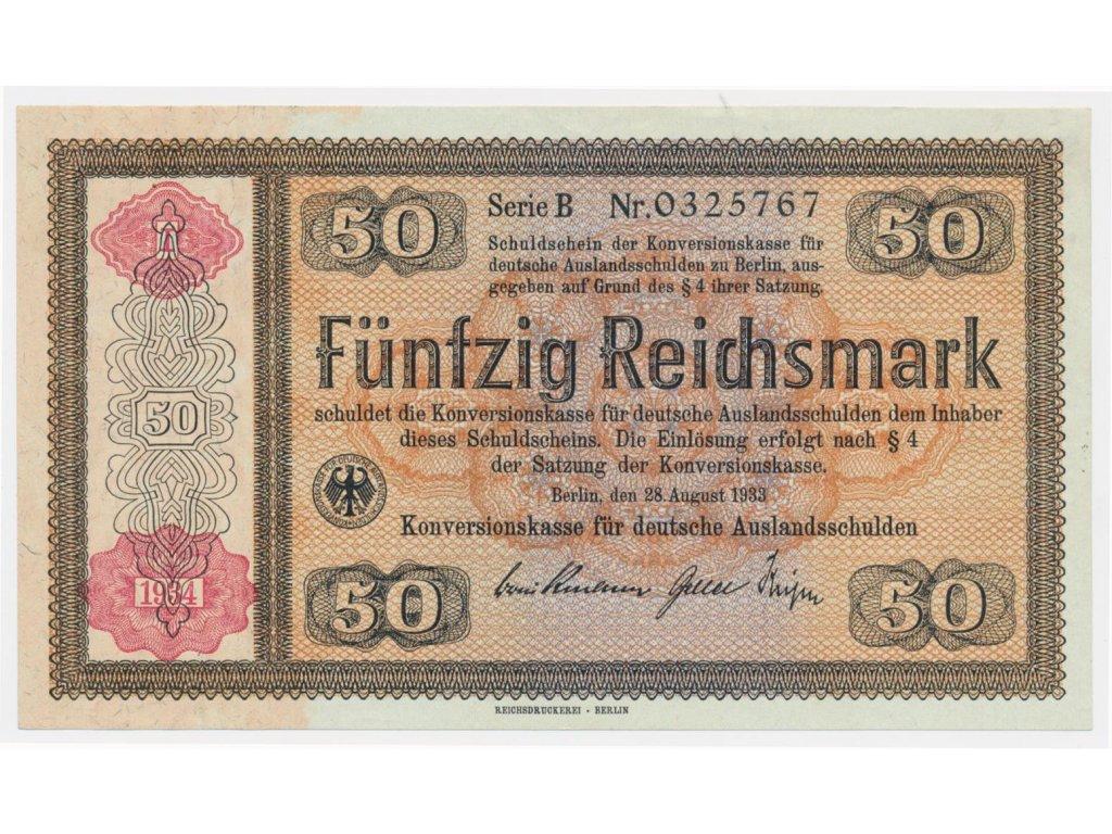 Německo, 50 RM, 1934, Konversionskassenschein, 712a, stav UNC