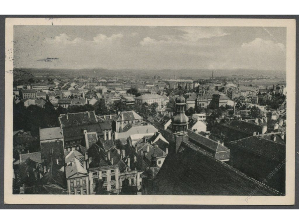 12 - České Budějovice, pohled nad střechami, cca 1933