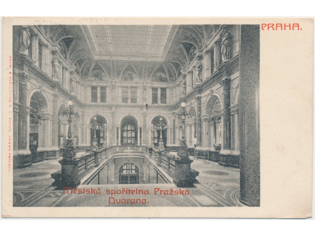 49 - Praha, interiér městské spořitelny Pražské, cca 1903
