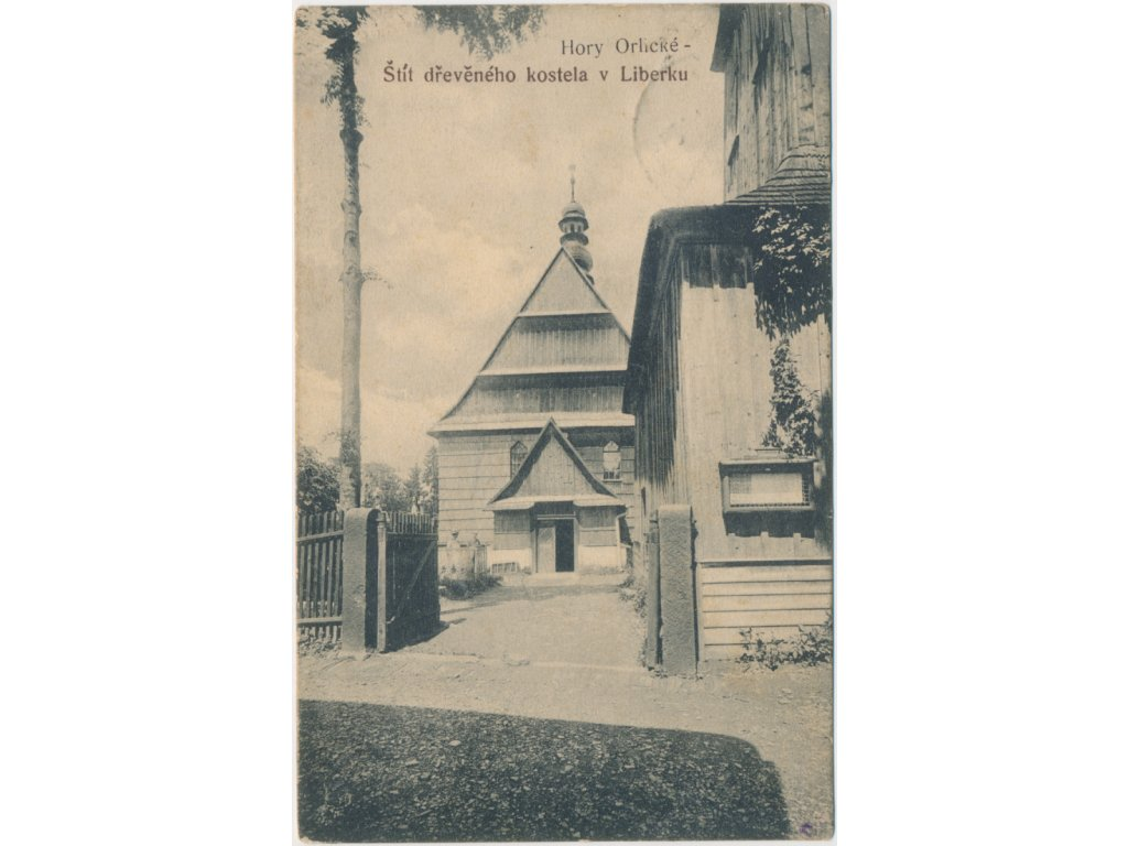 57 - Rychnovsko, Liberk, Štít dřevěného kostela, cca 1912